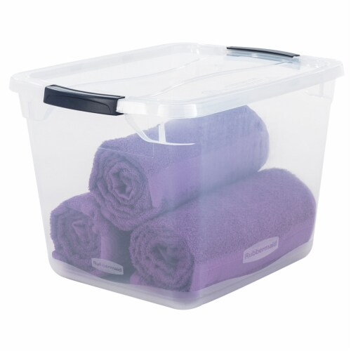Rubbermaid Cleverstore 30 Quart Plastic Storage Tote Container with Lid (6 Pack) Perspective: left