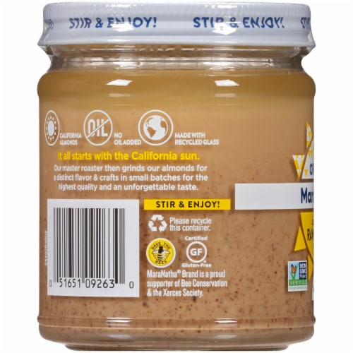 Maranatha Organic Raw Creamy Almond Butter Perspective: left