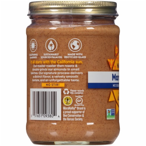 MaraNatha No Salt or Sugar Added Creamy Almond Butter Perspective: left