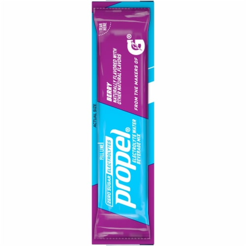 Propel Berry Flavored Enhanced Water Mix with Electrolytes Vitamins C & E Packets Perspective: left