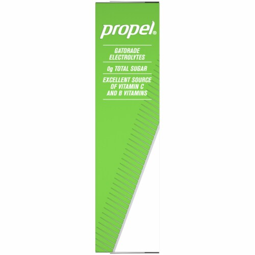 Propel Kiwi Strawberry Flavored Electrolyte Water Beverage Mix Packets Perspective: left