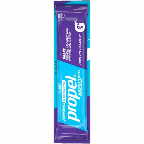 Propel Grape Flavored Enhanced Water Mix with Electrolytes Vitamins C & E Perspective: left