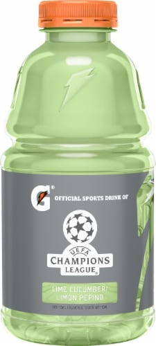 Gatorade Thirst Quencher Lime Cucumber Electrolyte Enhanced Sports Drink Perspective: left