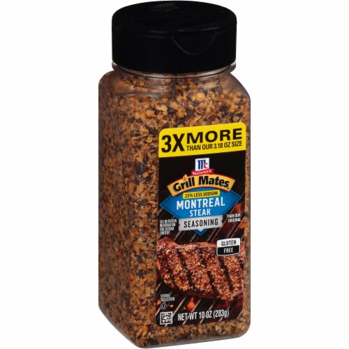 McCormick Grill Mates 25% Less Sodium Montreal Steak Seasoning Perspective: left