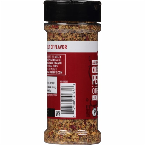 McCormick Red Crushed Pepper with Oregano and Garlic All Purpose Seasoning Shaker Perspective: left