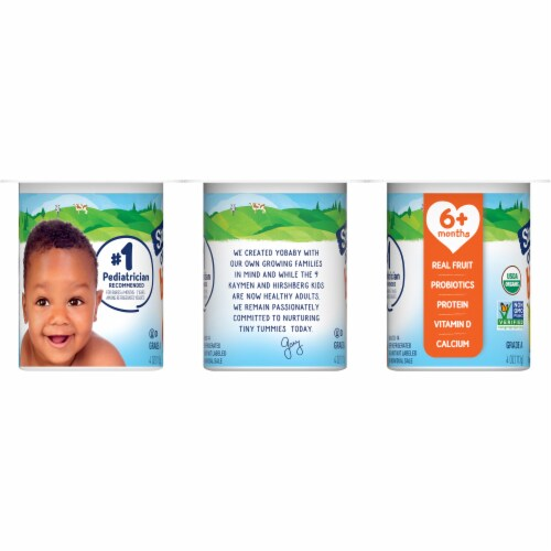 Stonyfield Organic YoBaby Peach & Pear Whole Milk Yogurt 6 Count Perspective: left