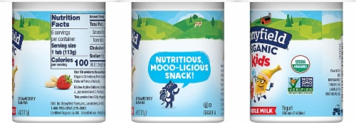 Stonyfield Organic Kids Strawberry Banana Whole Milk Yogurt Perspective: left