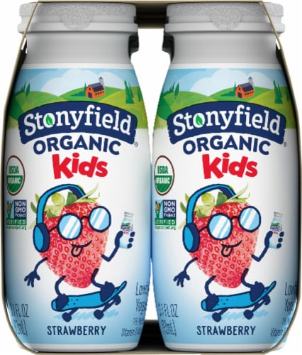 Stonyfield Organic Kids Strawberry Lowfat Yogurt Smoothies Drinks Perspective: left