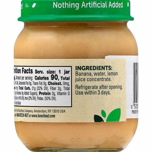 Beech-Nut Stage 2 Banana Baby Food Jar Perspective: left