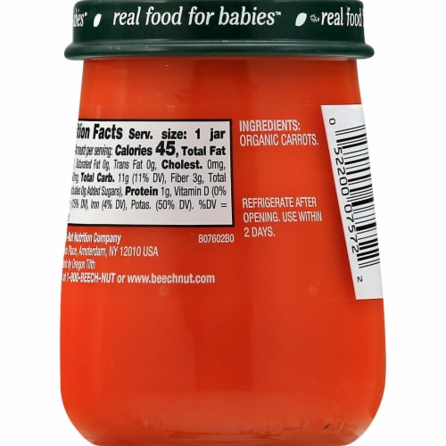 Beech-Nut Organics Stage 1 Carrots Baby Food Jar Perspective: left