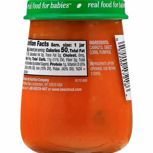 Beech-Nut® Naturals Stage 2 Carrots Sweet Corn & Pumpkin Baby Food Perspective: left