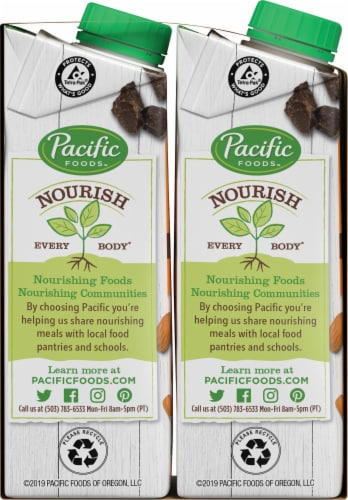 Pacific Organic Chocolate Almond Non Dairy Beverage Perspective: left