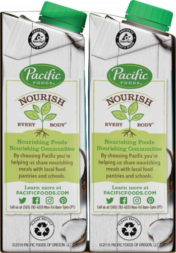 Pacific Foods Organic Unsweetened Coconut Beverage Perspective: left