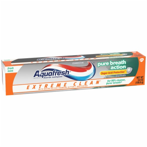Aquafresh Extreme Clean Pure Breath Action Fresh Mint Toothpaste Perspective: left