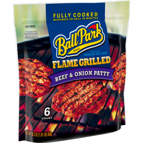 Ball Park Flame Grilled Beef & Onion Patties Perspective: left