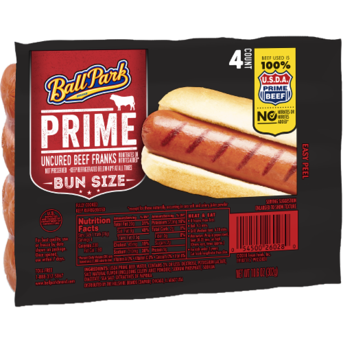 Ball Park Prime Beef Hot Dogs Bun Size Length 4 Count Perspective: left