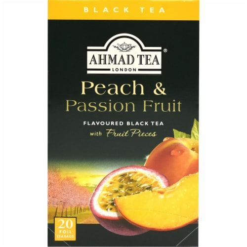 Peach & Passion Fruit Flavoured Black Tea Bags Perspective: left