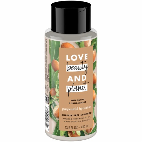 Love Beauty and Planet Shea Butter & Sandalwood Purposeful Hydration Shampoo Perspective: left