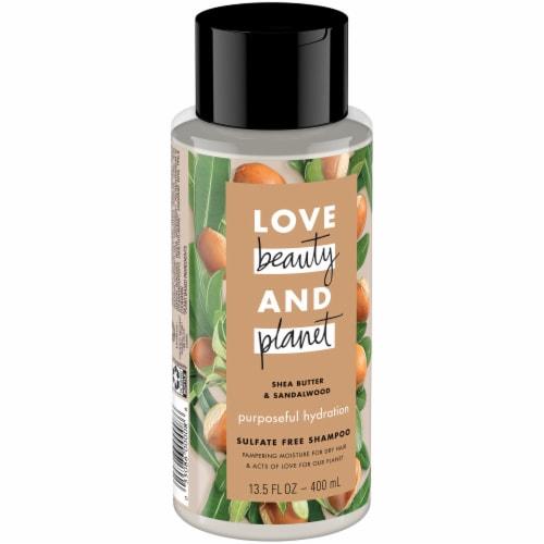 Love Beauty & Planet Shea Butter & Sandalwood Hydrating Shampoo Perspective: left