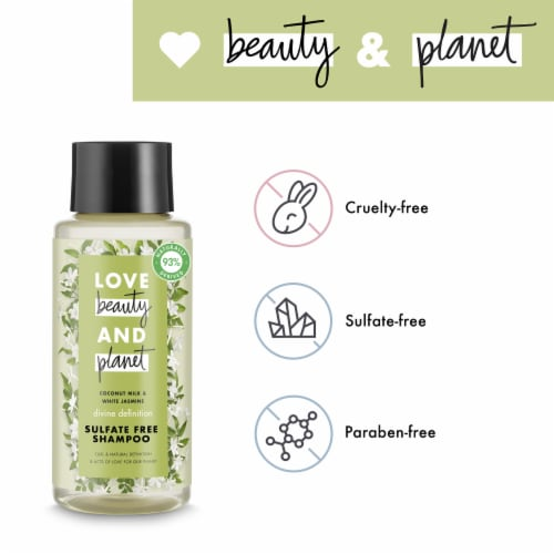 Love Beauty and Planet Sulfate-Free Coconut Milk & White Jasmine Shampoo for Curly Hair Perspective: left