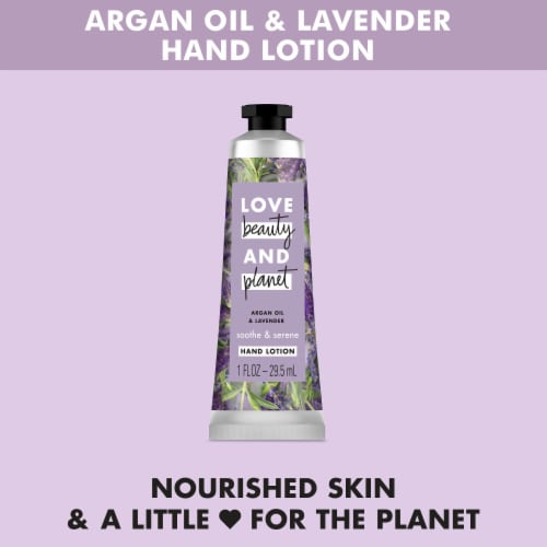 Love Beauty and Planet Smoothe & Serene Argan Oil & Lavender Hand Lotion Perspective: left
