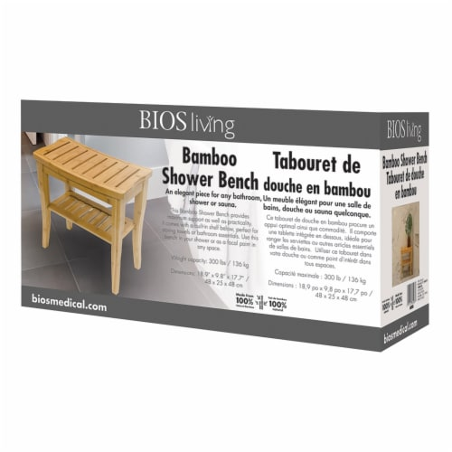 BIOS Living 60058 Bamboo Shower Bench Perspective: left