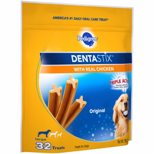 Pedigree DentaStix Triple Action Original Large Dog Treats with Real Chicken Perspective: left