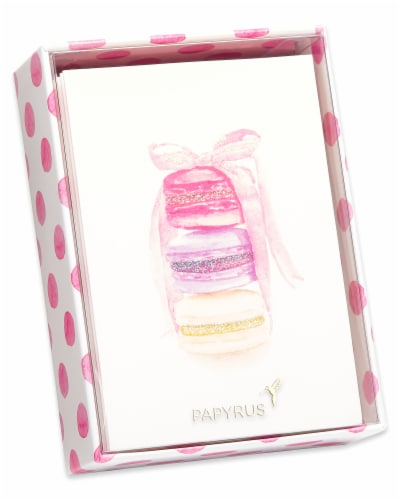 Papyrus Stack of Macarons with Glitter Boxed Blank Note Cards Perspective: left