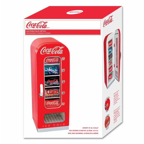 Koolatron Coca-Cola Official Design Push Button Vending Machine Mini Fridge Perspective: left