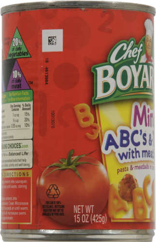 Chef Boyardee Mini ABC's & 123's Pasta with Meatballs Pasta in Tomato Sauce Perspective: left