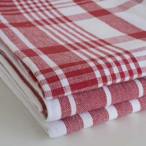 Now Designs Extra Large Red Wovern Cotton Kitchen Dish Towels Perspective: left