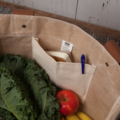Now Designs Market Tote Jute Grocery Bag Goods and Provisions 13.5x17x8.5 inch Perspective: left