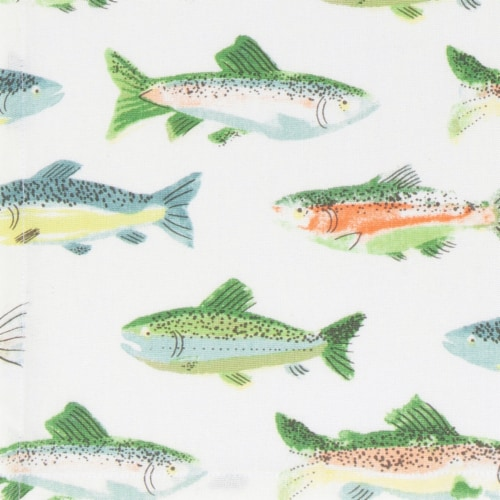 Now Designs Gone Fishin 100% Cotton Woven Printed Kitchen Dish Towels Perspective: left