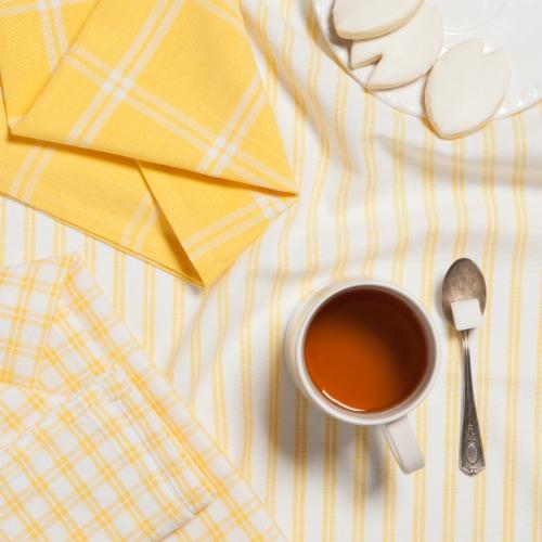 Now Designs Tic Tac Toe Lemon Yellow 100% Cotton Kitchen Dish Towels Perspective: left