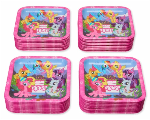 American Greetings My Little Pony Square Disposable Paper Dessert Plates Perspective: left