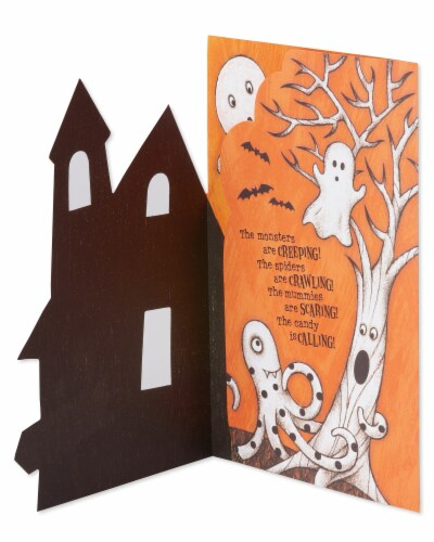 American Greetings Halloween Card with Stickers (Haunted House) Perspective: left