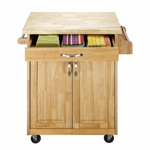 Dorel Living Wood Top Kitchen Cart in Natural Perspective: left