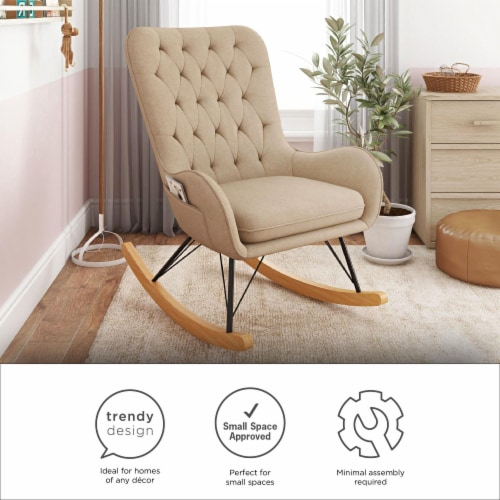 Baby Relax Noah Rocker Chair with Side Storage Pockets, Taupe Perspective: left