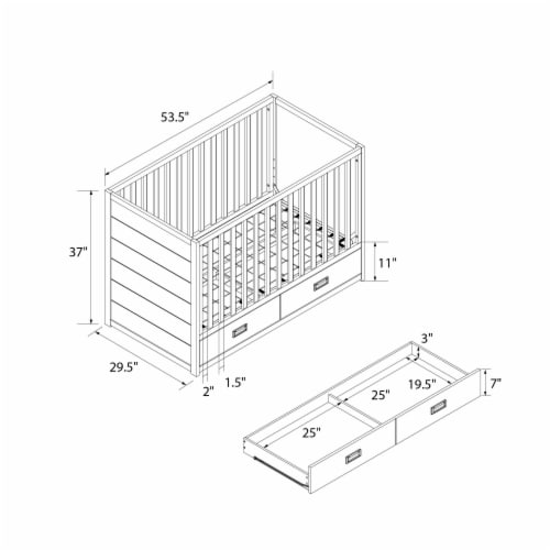 Little Seeds Haven 3-in-1 Convertible Storage Crib, Dove Gray Perspective: left
