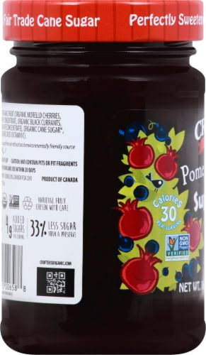 Crofter's Organic Pomegranate Power Premium SuperFruit Spread Perspective: left