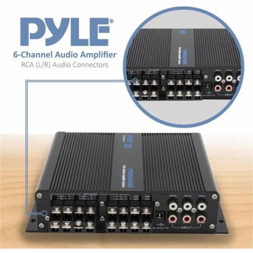 Pyle 6 Channel 600 Watt Marine Amp Amplifier Bluetooth Receiver Sound System Perspective: left
