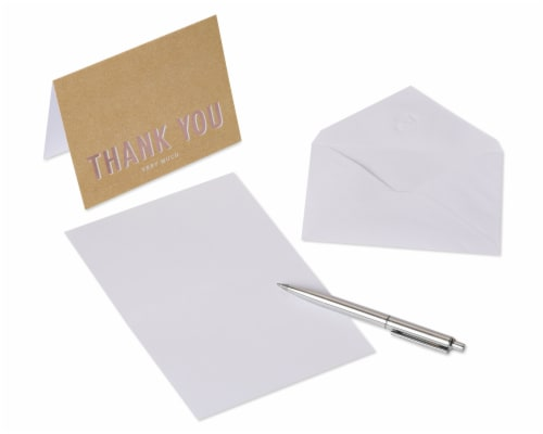 American Greetings #14 Thank You Kraft Stationery Perspective: left