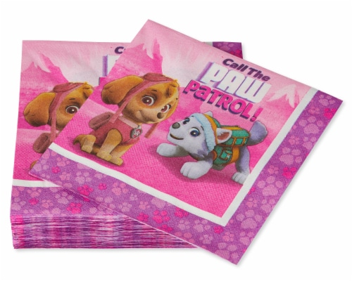 American Greetings Paw Patrol Pink Disposable Paper Lunch Napkins Perspective: left