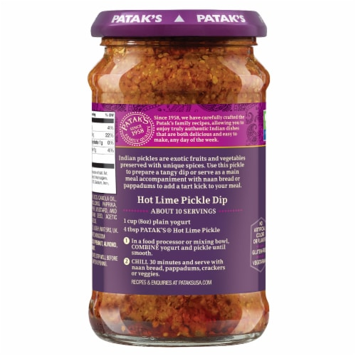 Patak's Hot Lime Lime Pickle Relish Perspective: left