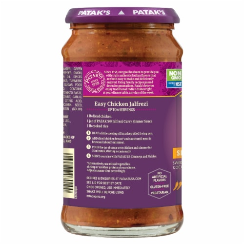 Patak's Jalfrezi Curry Indian Simmer Sauce - Medium Spiced Perspective: left