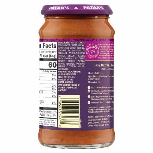 Patak's® Butter Chicken Curry Simmer Sauce Perspective: left