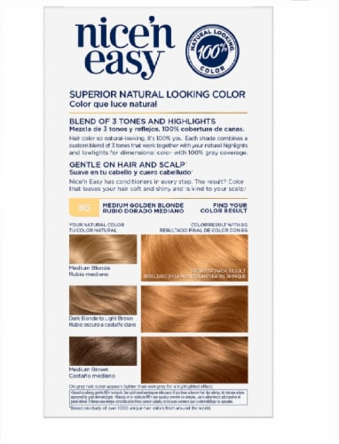 Clairol Nice'n Easy Permanent 8G Medium Golden Blonde Hair Color Perspective: left