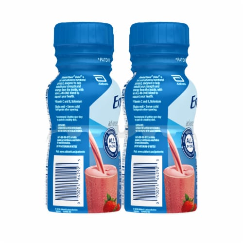 Ensure Enlive Advanced Strawberry Ready-to-Drink Nutrition Shakes Perspective: left