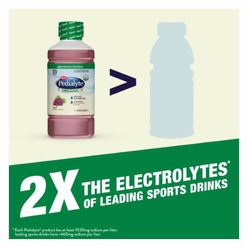 Pedialyte Organic Grape Electrolyte Solution Perspective: left