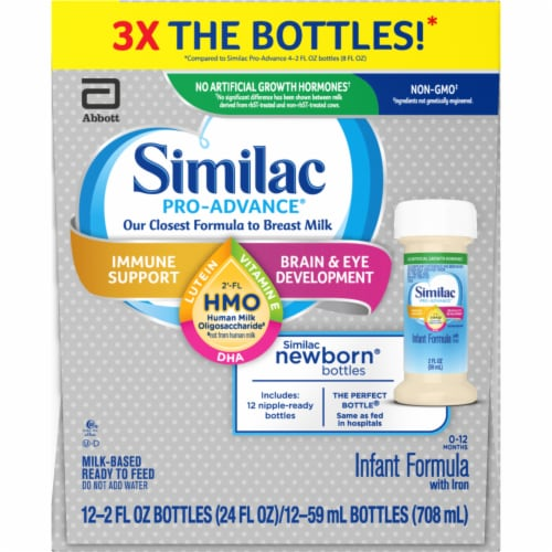Similac Pro-Advance HMO Milk-Based Ready to Feed Infant Formula 12 Bottles Perspective: left
